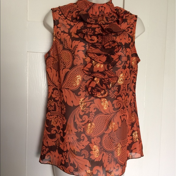 1187e1773e6ff1 Anna Sui See Through Copper and Gold Blouse.